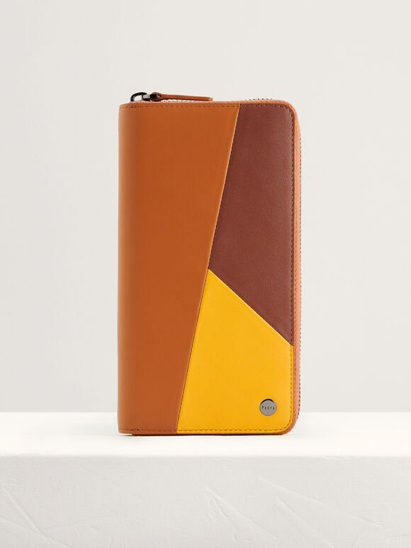 Colorblock Leather Long Wallet, Multi, hi-res