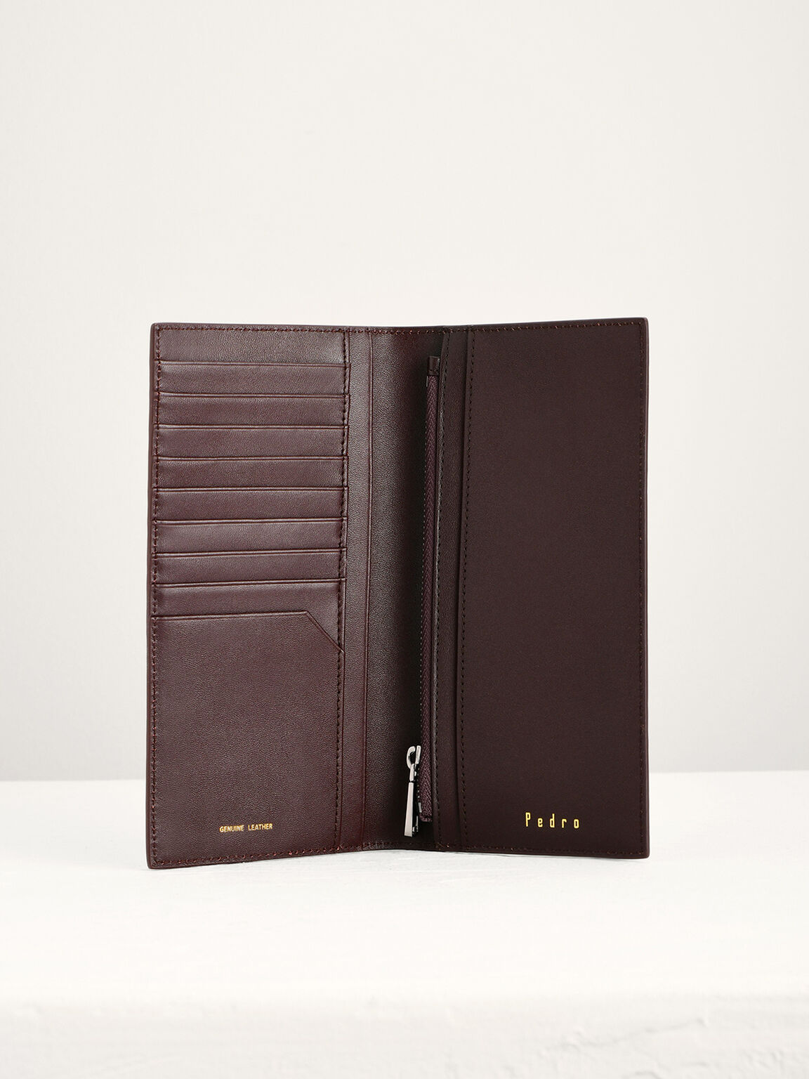 Leather Long Wallet, Dark Brown, hi-res