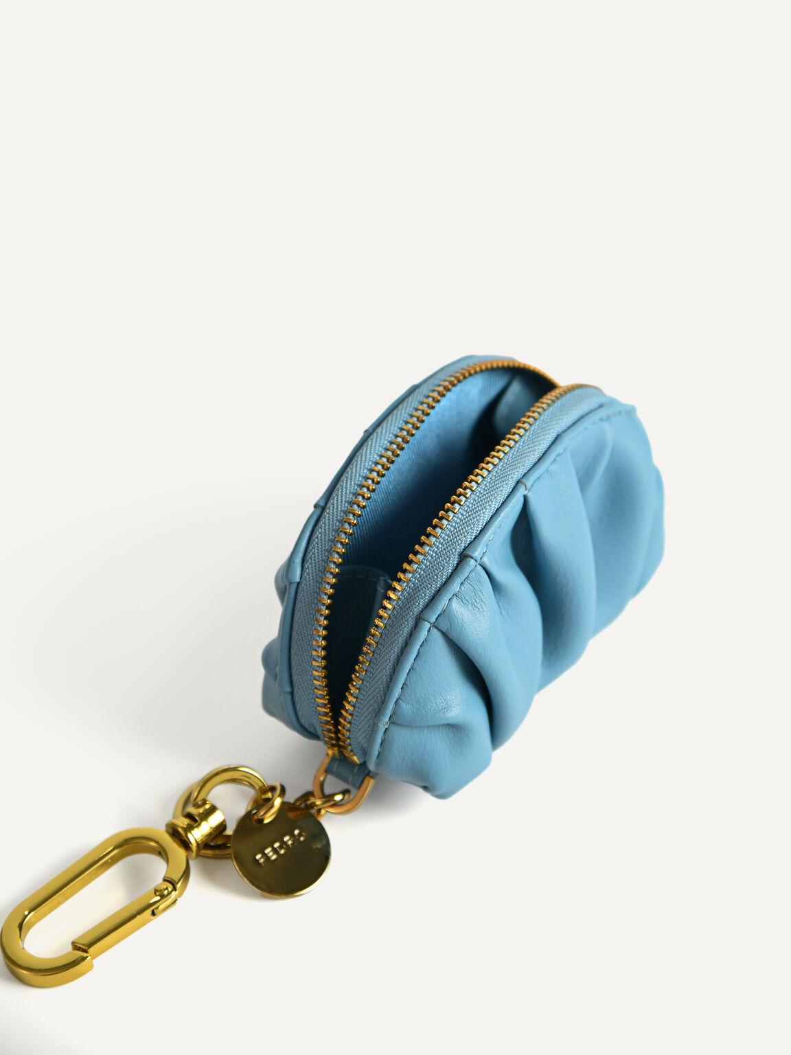 Mini Draped Pouch, Cyan, hi-res