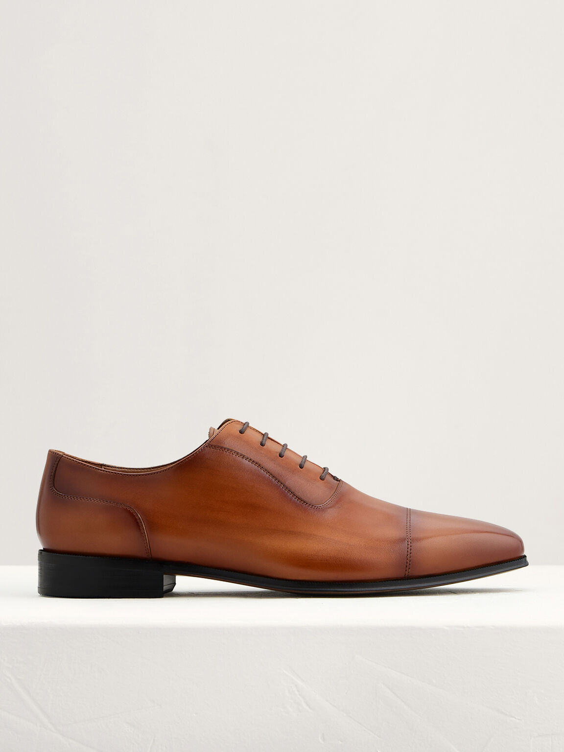 Leather Cap Toe Oxfords, Cognac, hi-res