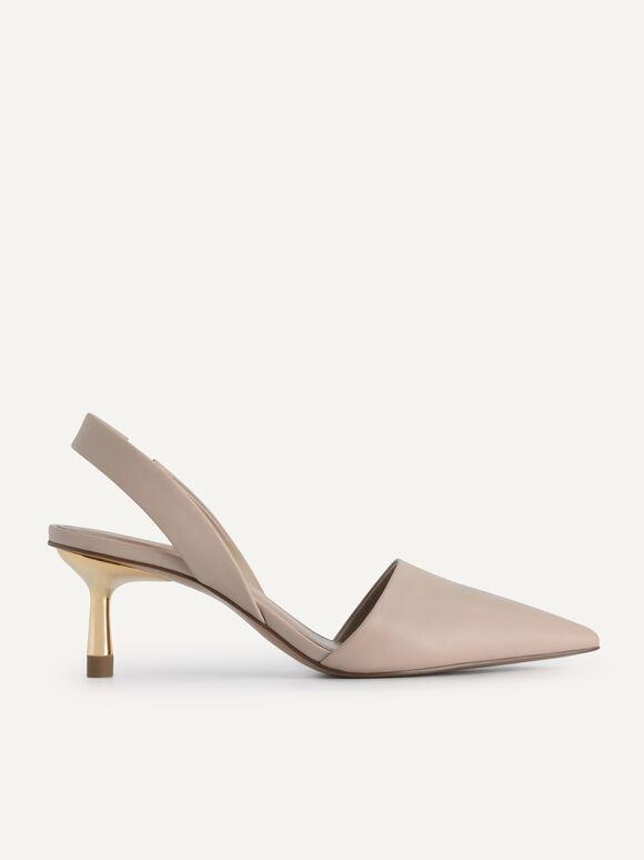 Leather Slingback Heels, Nude, hi-res