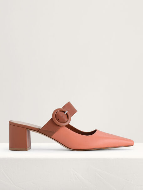 Buckled Leather Mules, Multi, hi-res