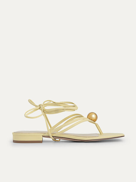Orb Lace-Up Sandals, Light Yellow, hi-res
