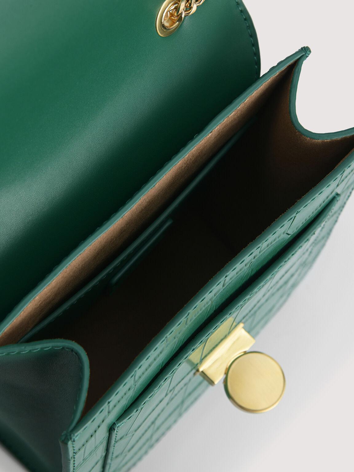 Croc-Effect Leather Shoulder Bag, Dark Green, hi-res