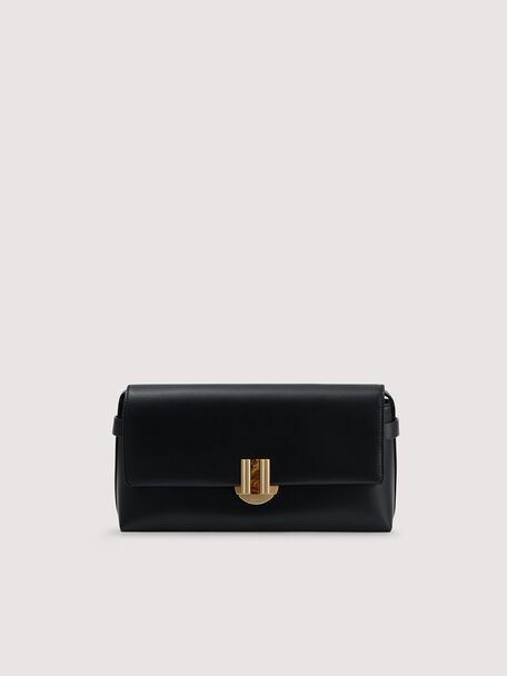 Shoulder Bag With Precious Stone Closure, Black, hi-res