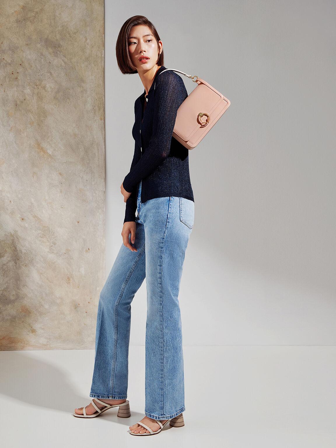 Structured Shoulder Bag, Nude, hi-res
