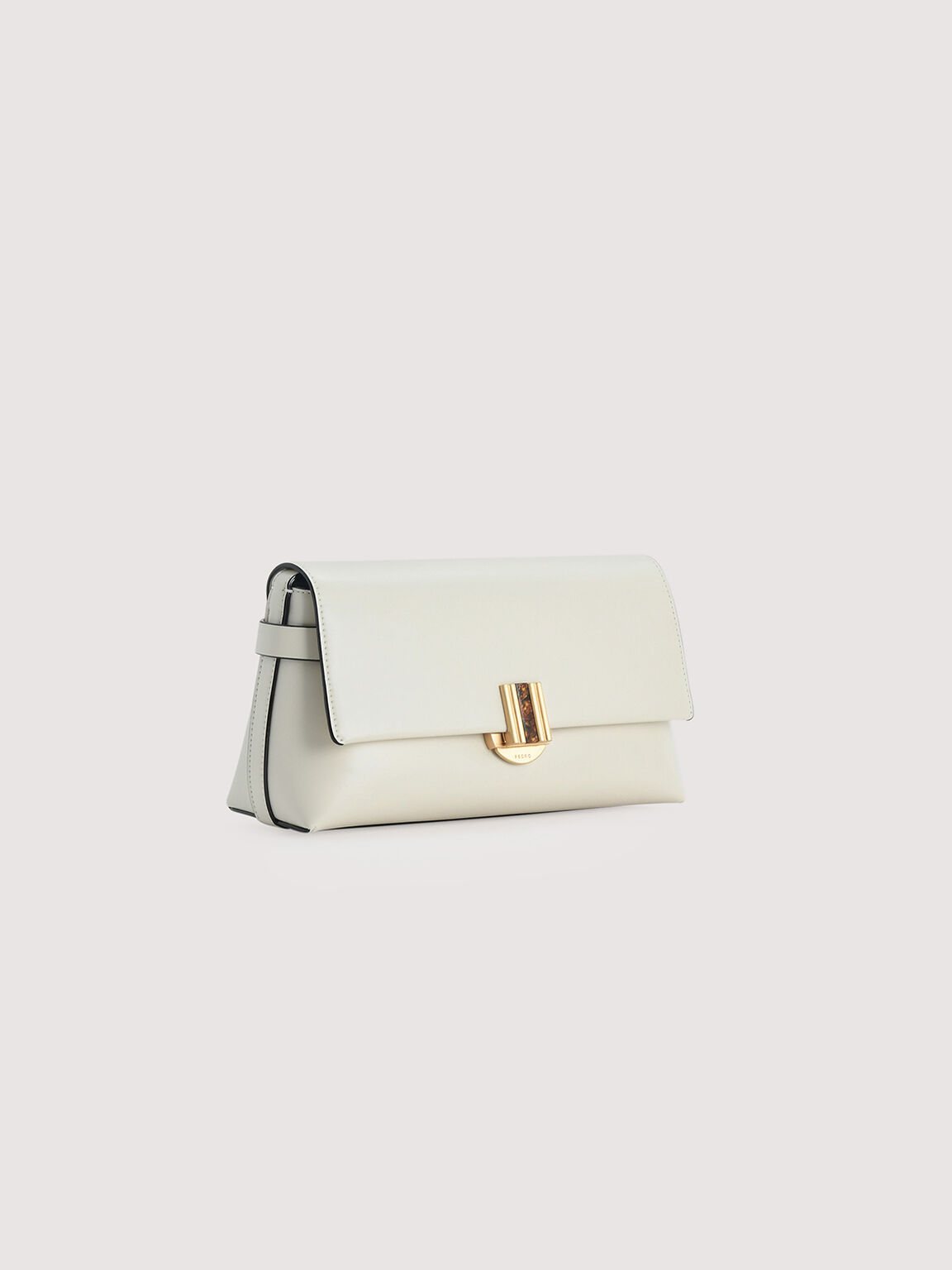 Shoulder Bag With Precious Stone Closure, Chalk, hi-res