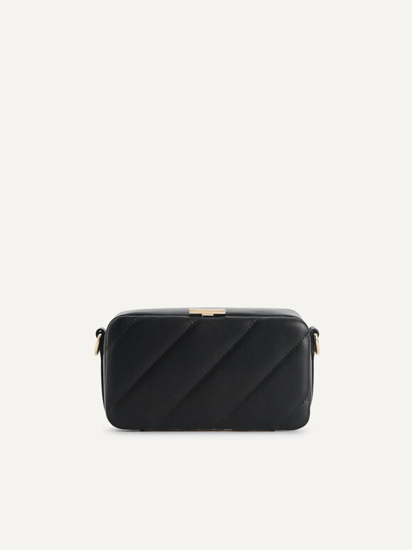 Quilted Boxy Shoulder Bag, Black, hi-res