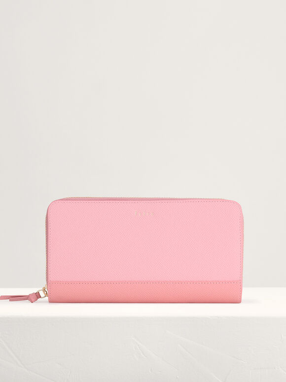 Leather Bi-Fold Long Wallet in Two-Tone, Light Pink, hi-res