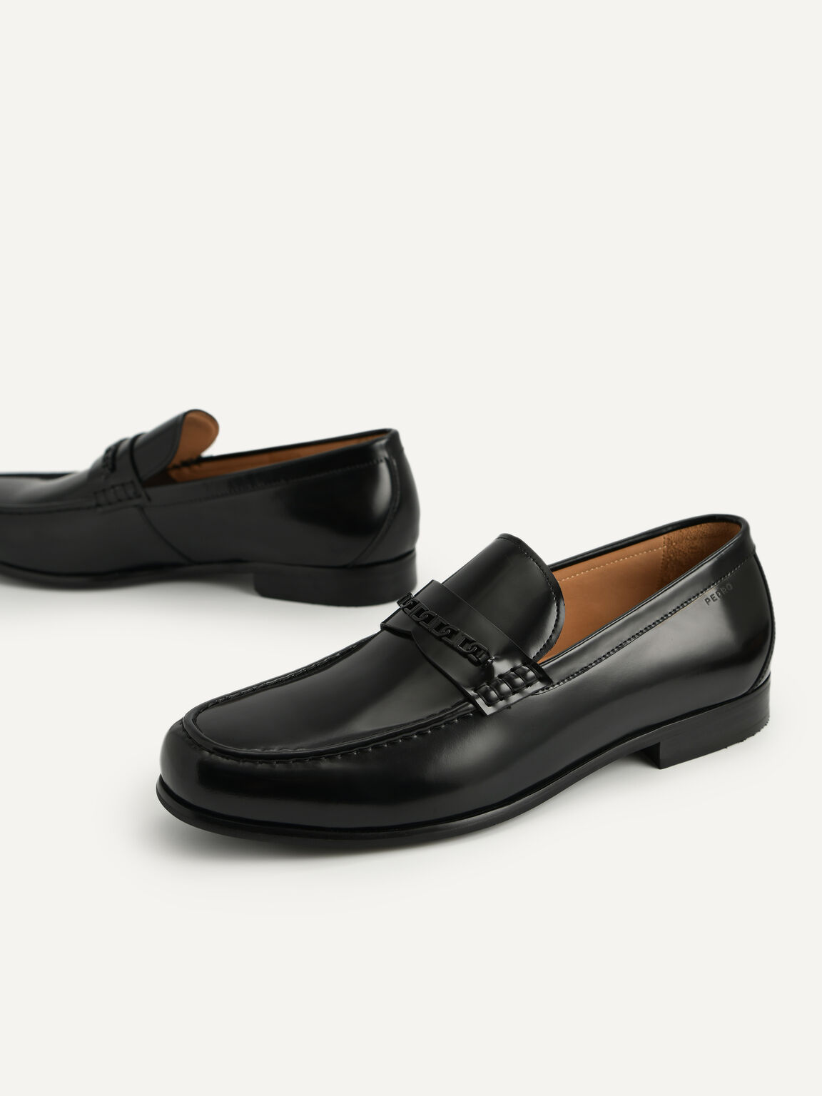 Icon Leather Penny Loafers, Black, hi-res
