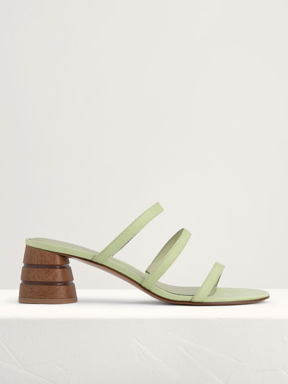 Strappy Heeled Sandals, Light Green, hi-res