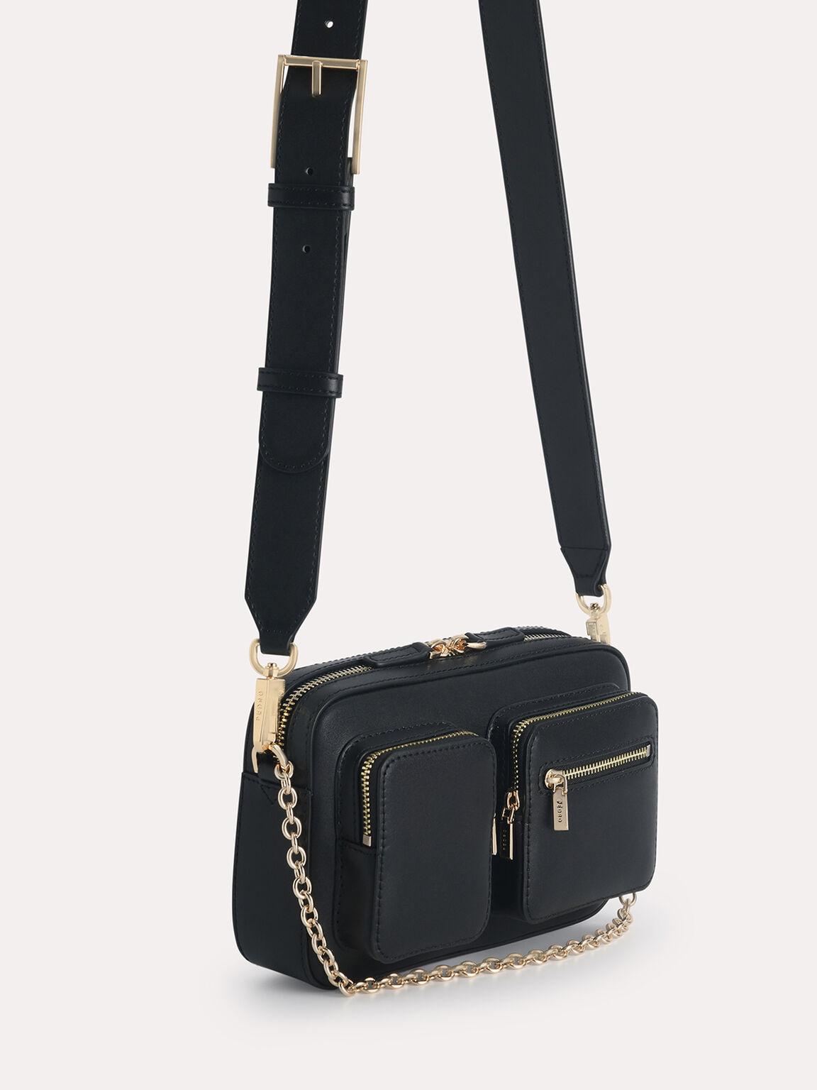 Leather Boxy Bag, Black, hi-res
