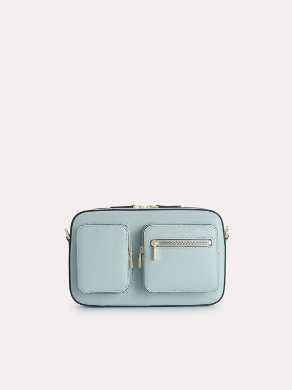 Leather Boxy Bag, Slate Blue, hi-res