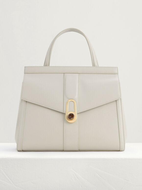 Top Handle Bag with Precious Stone Detailing, Cream, hi-res