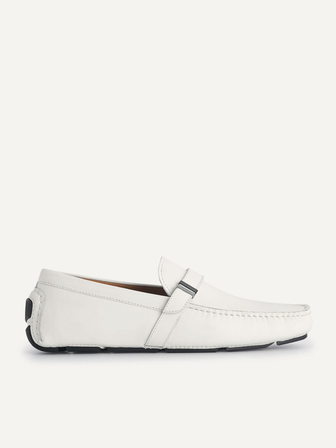 皮革莫卡辛鞋, 白色, hi-res