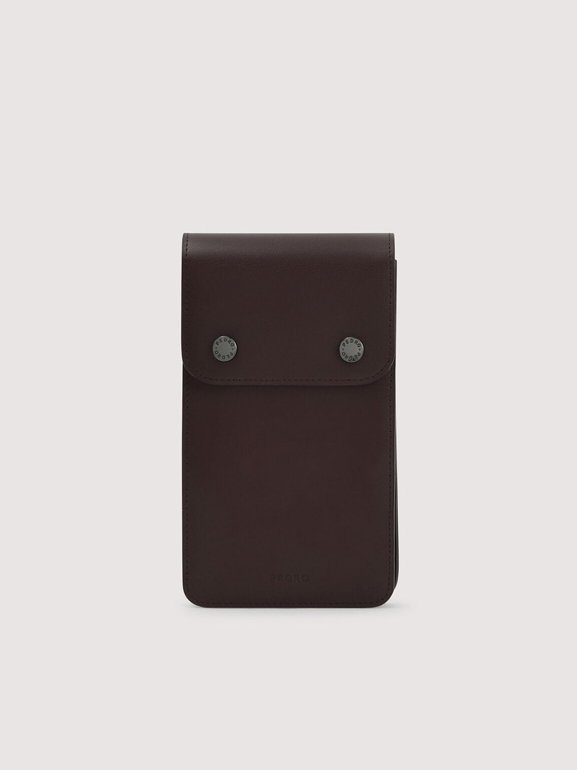 Leather Phone Pouch, Dark Brown, hi-res