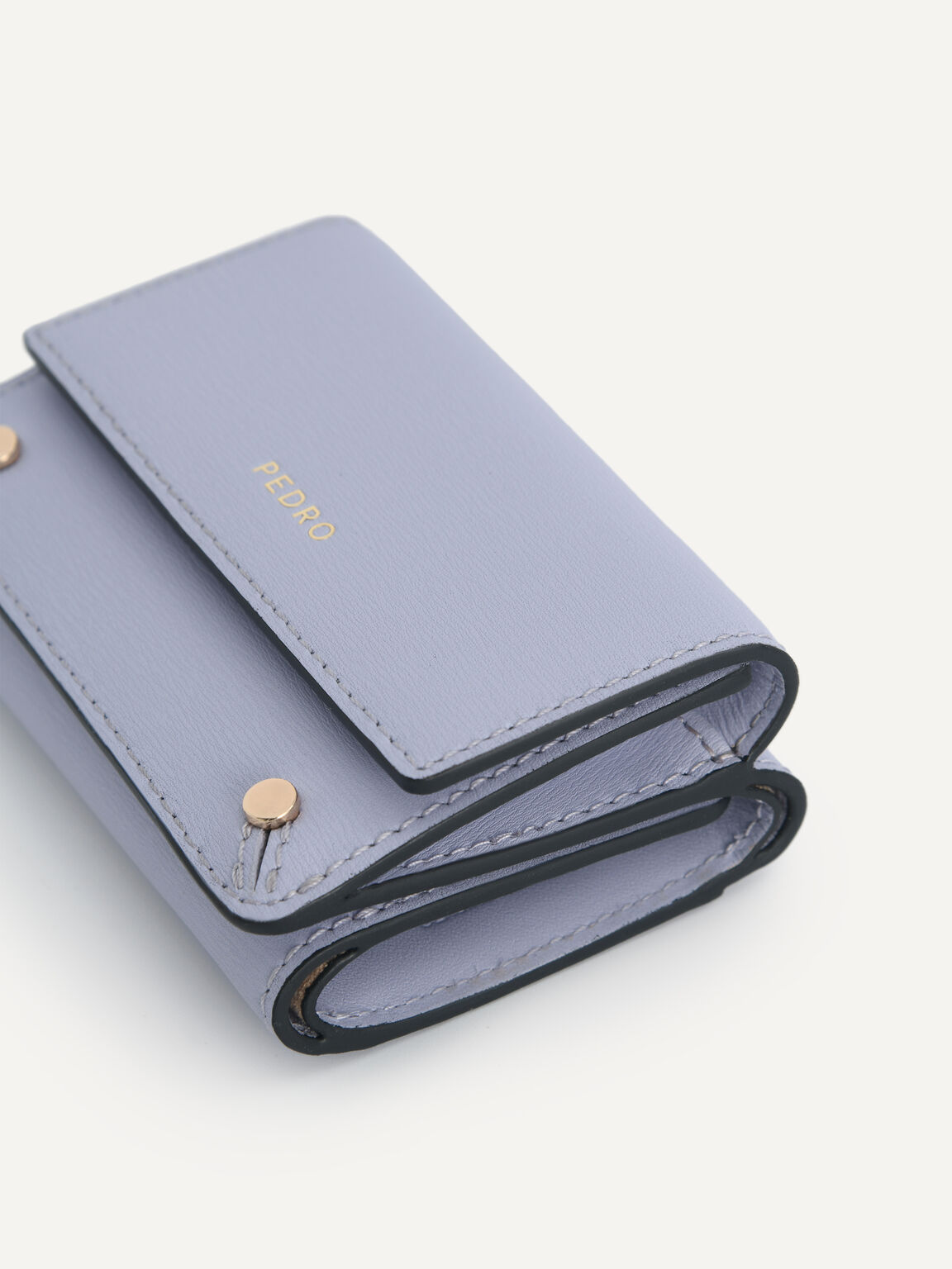 Textured Leather Trifold Wallet, Lilac, hi-res