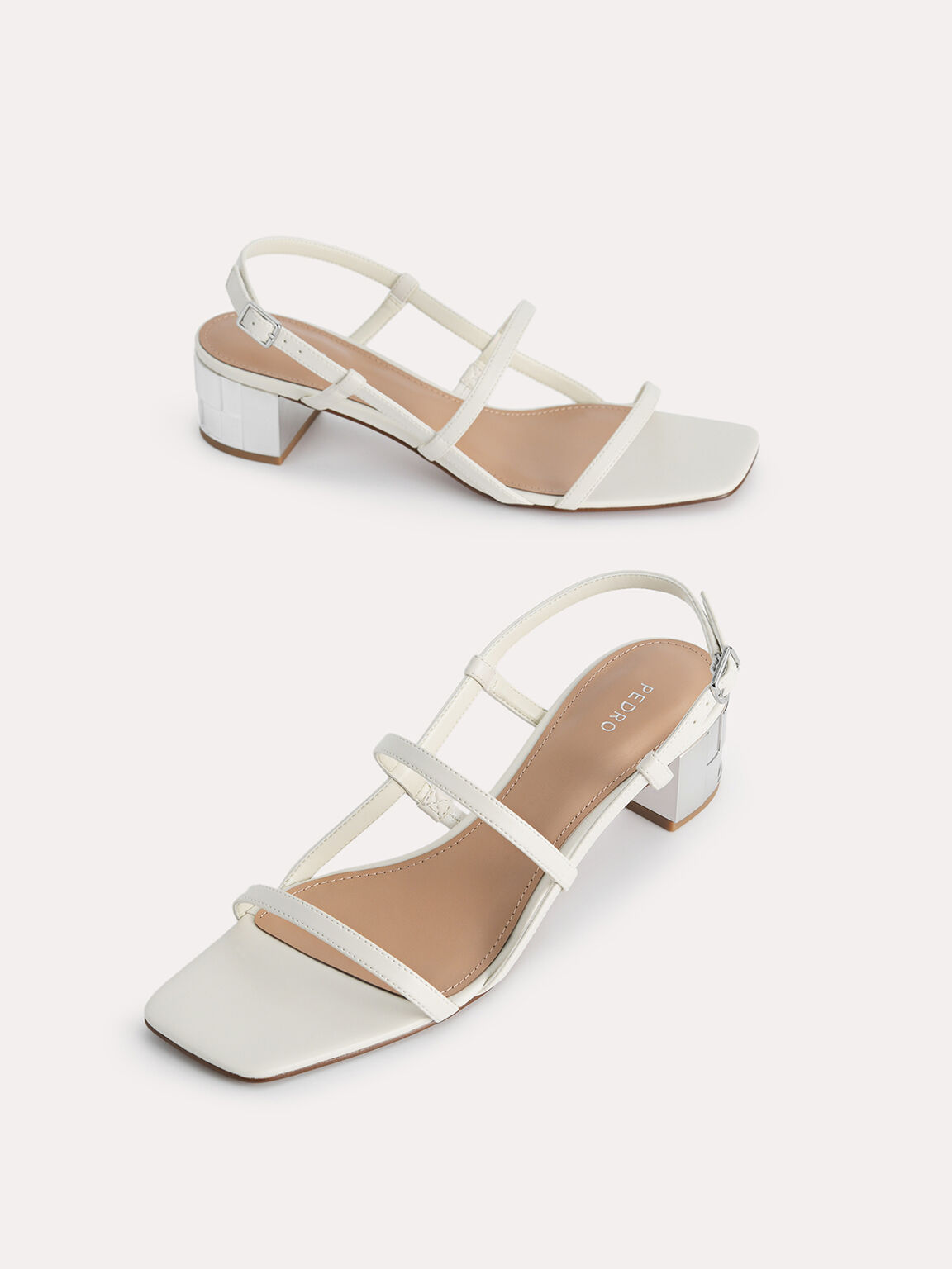 Square-Toe Caged Heeled Sandals, Chalk, hi-res