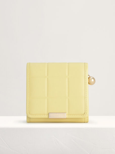 Qulited Leather Wallet, Yellow, hi-res