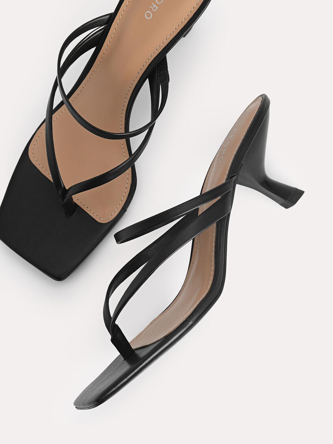 Thong Heeled Sandals, Black, hi-res