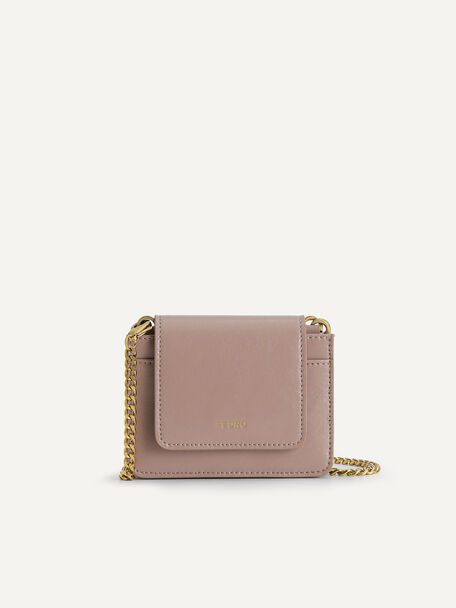Leather Pouch with Chain Handle, Taupe, hi-res