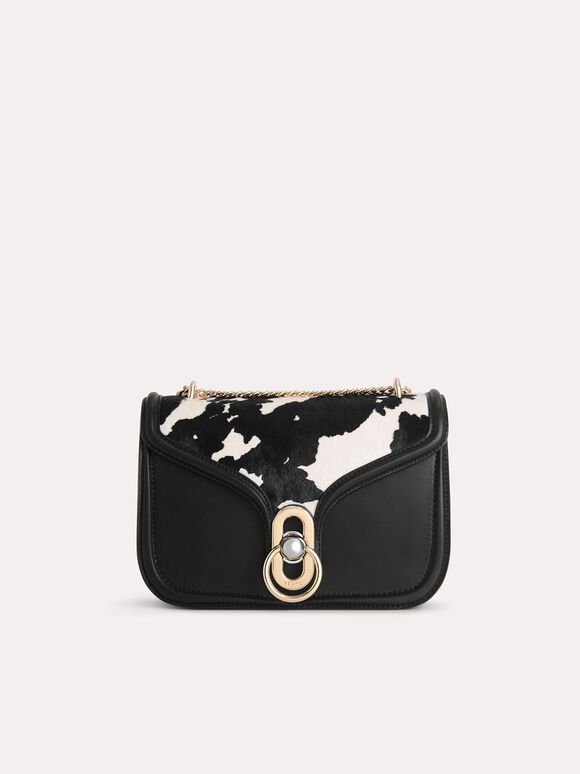 Cow-Printed Leather Shoulder Bag, Multi, hi-res