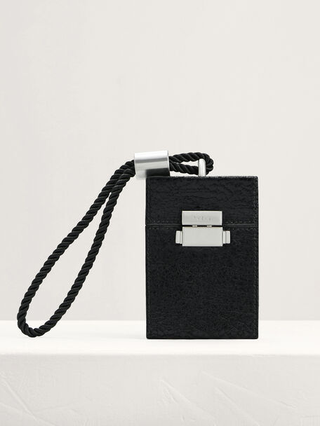 Wrinkle-Effect Micro Boxy Leather Bag, Black, hi-res