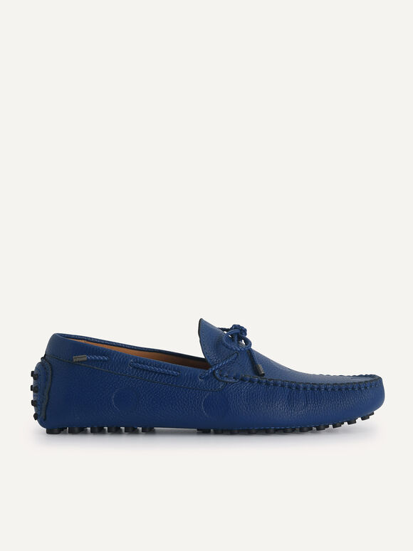 Textured Moccasins with Bow, Blue, hi-res