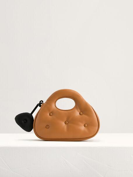 Quilted Shoulder Bag, Camel, hi-res