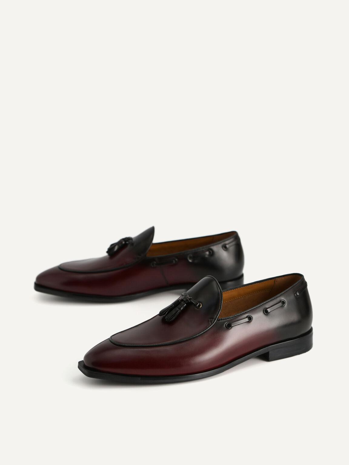 Leather Tasselled Loafers, Maroon, hi-res