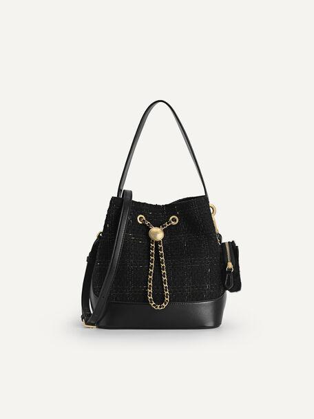 Tweed Bucket Bag, Black, hi-res