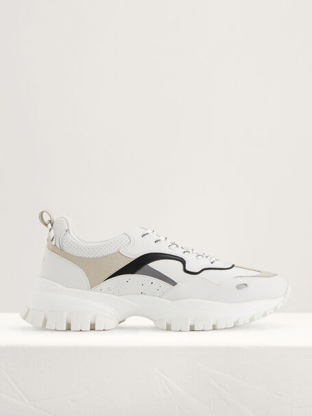 Chunky Suede Sneakers, White, hi-res