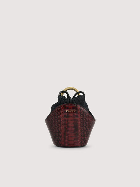 Snake-Effect Micro Shoulder Bag, Mahogany, hi-res