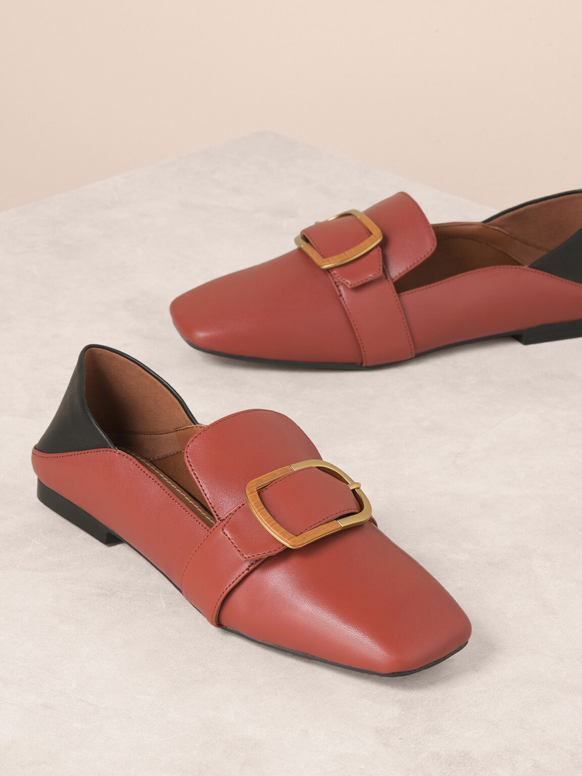Embossed Leather Loafers, Brick, hi-res