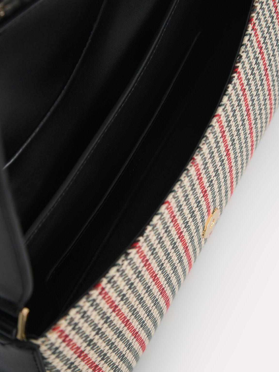 Houndstooth Rectangular Top Handle Bag, Black, hi-res