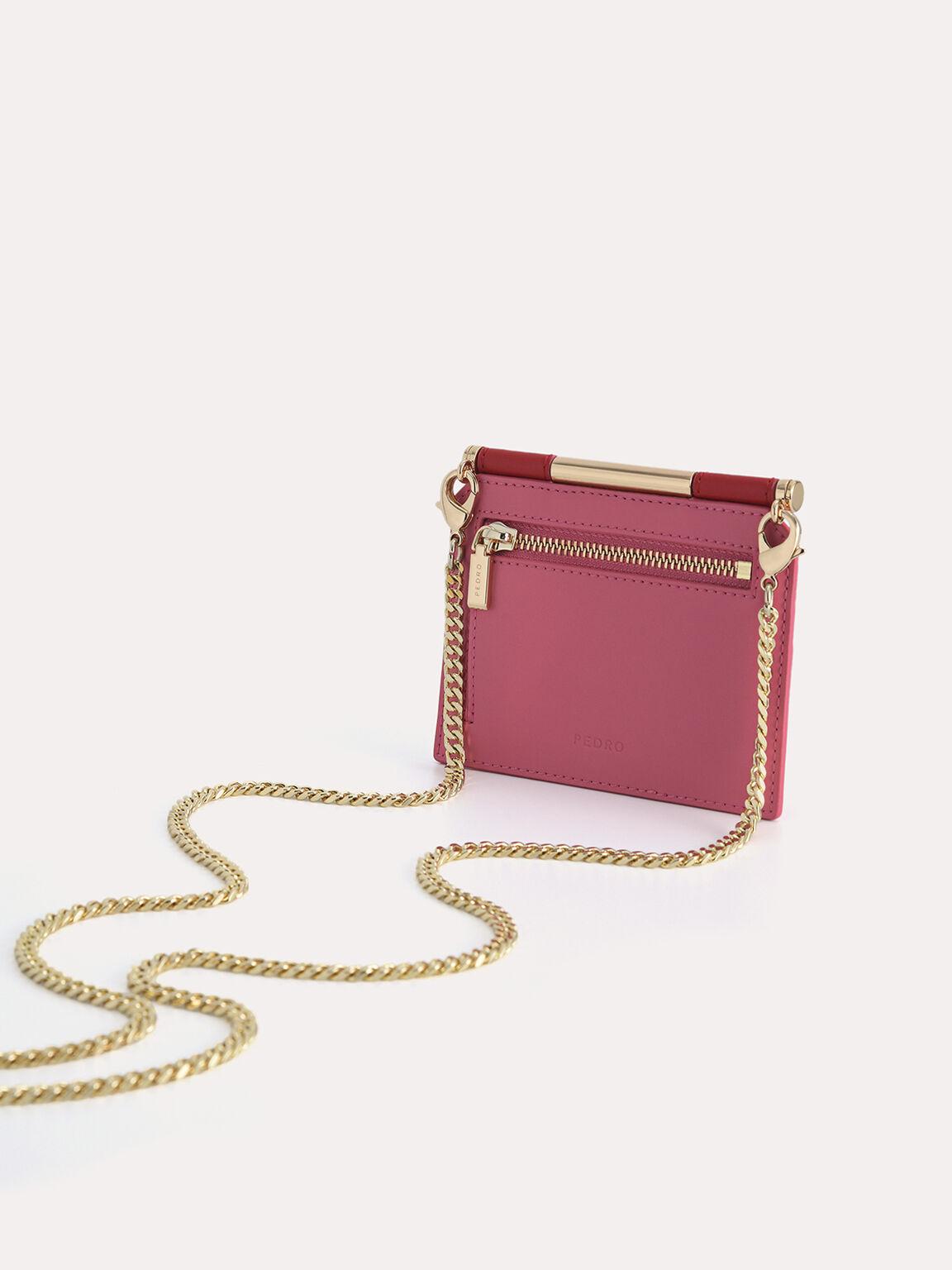 Leather Bi-Fold Cardholder, Red, hi-res