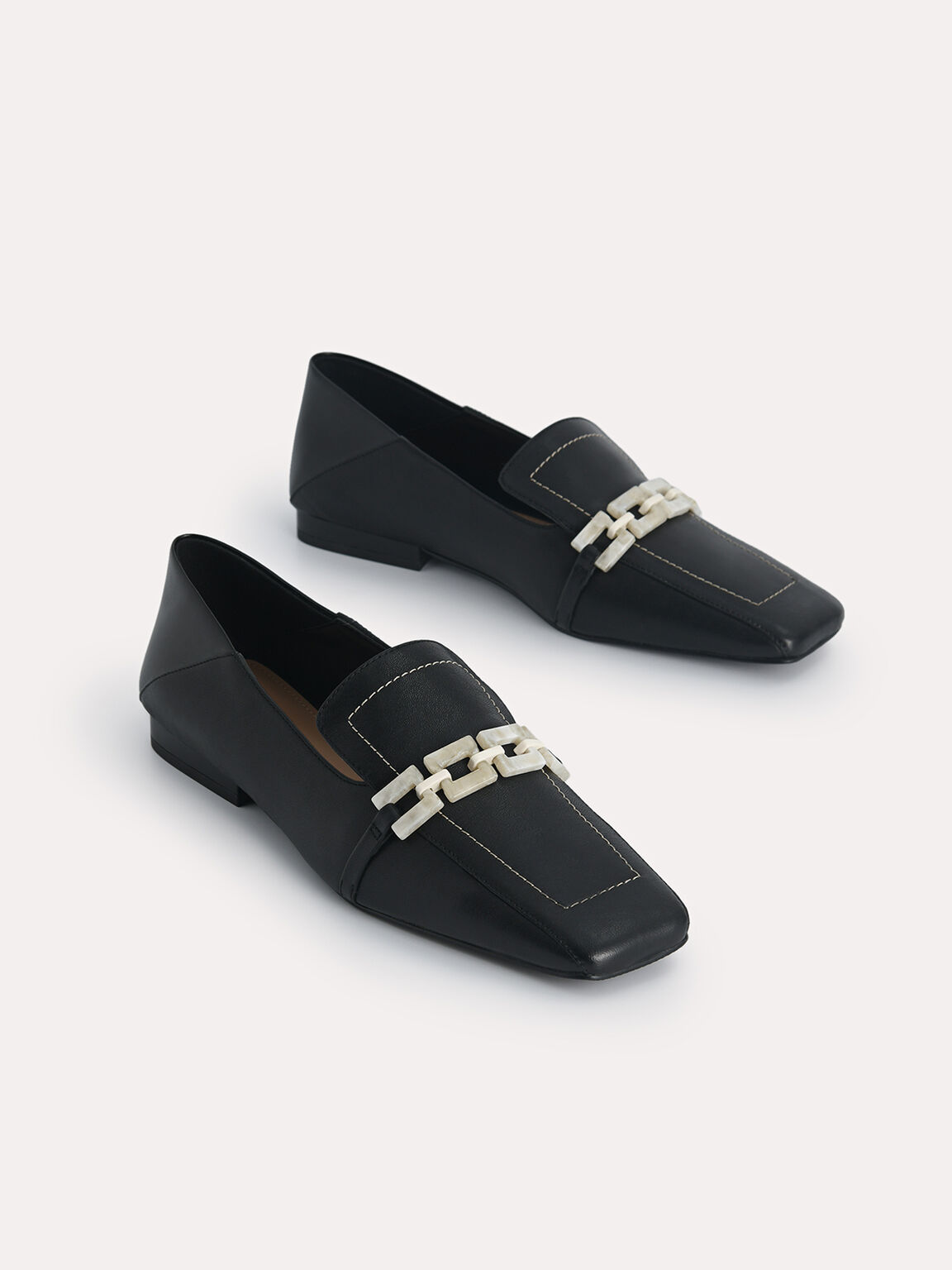 Leather Square Toe Loafers, Black, hi-res