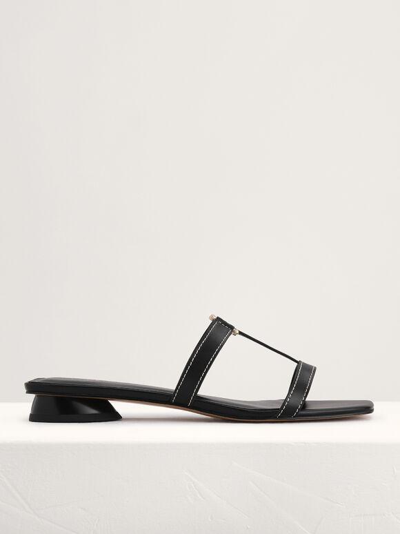 Square-Toed Sandals, Black, hi-res