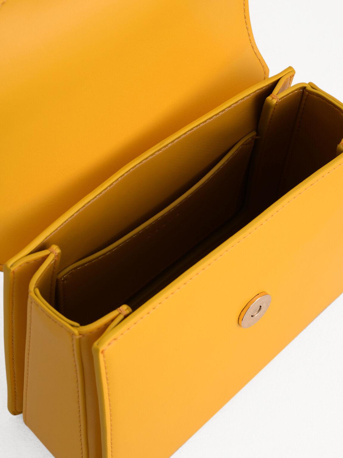 Buckled Shoulder Bag, Yellow, hi-res
