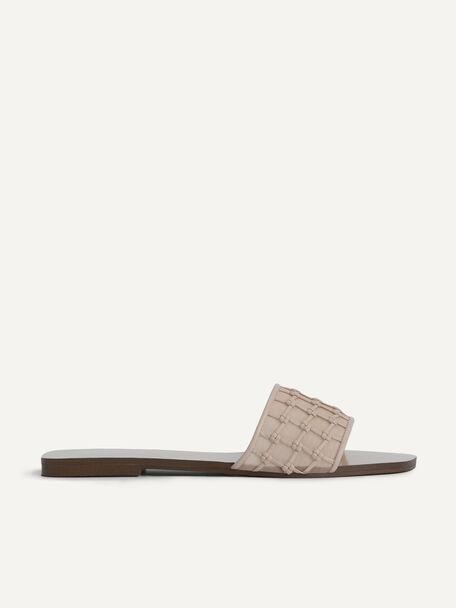 Woven Mesh Slide Sandals, Nude, hi-res