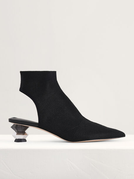Ankle Mesh Sock Boots with Decorative Heel, Black, hi-res
