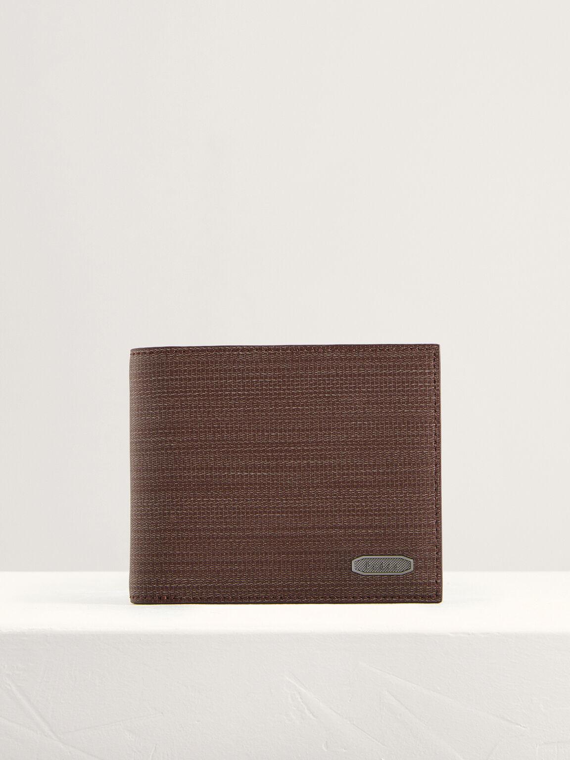 Embossed Leather Bi-Fold Wallet, Dark Brown, hi-res