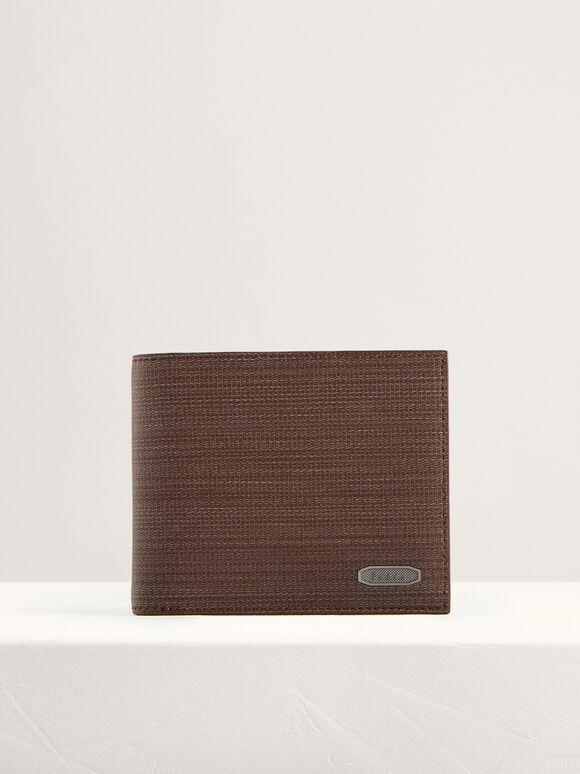 Embossed Leather Bi-Fold Wallet, Dark Brown, hi-res