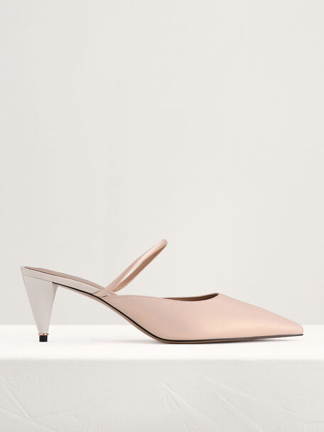 Leather Heeled Mules, Nude, hi-res