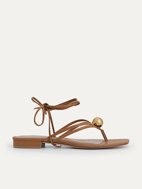 Orb Lace-Up Sandals, Camel, hi-res