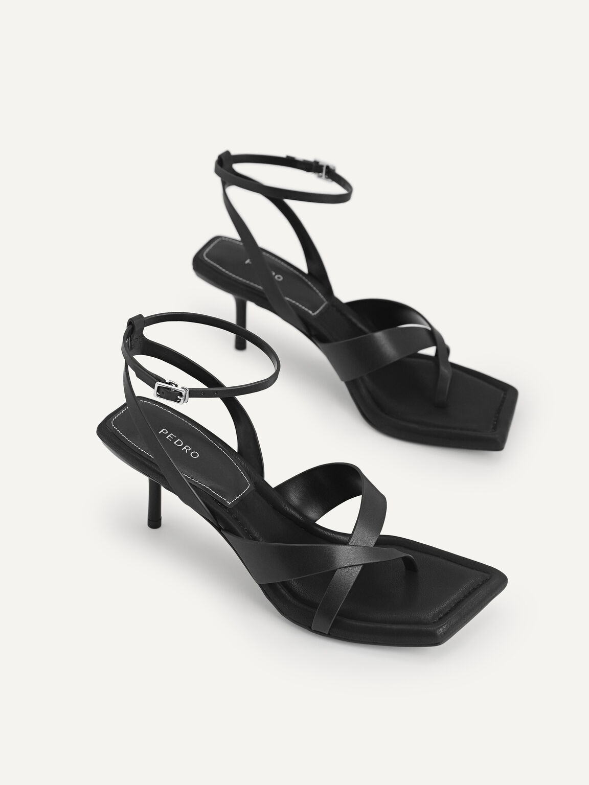 Strappy Square-Toe Heeled Sandals, Black, hi-res