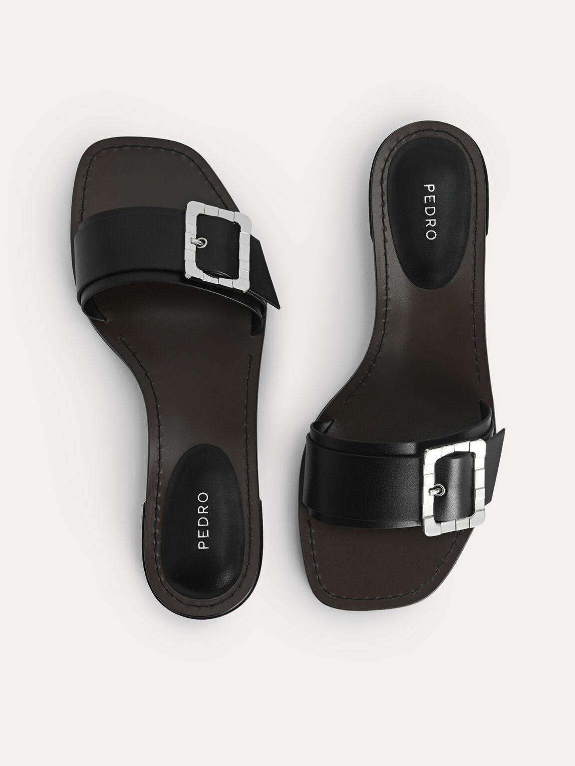 Casual Buckle Sandals, Black, hi-res