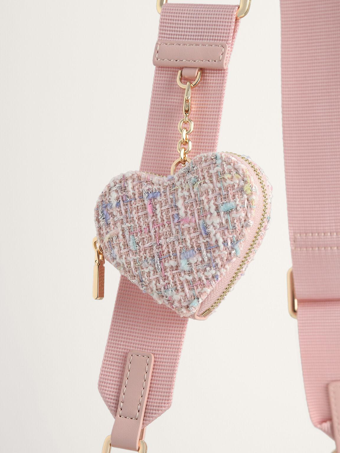 Tweed Double Flap Shoulder Bag, Pink, hi-res