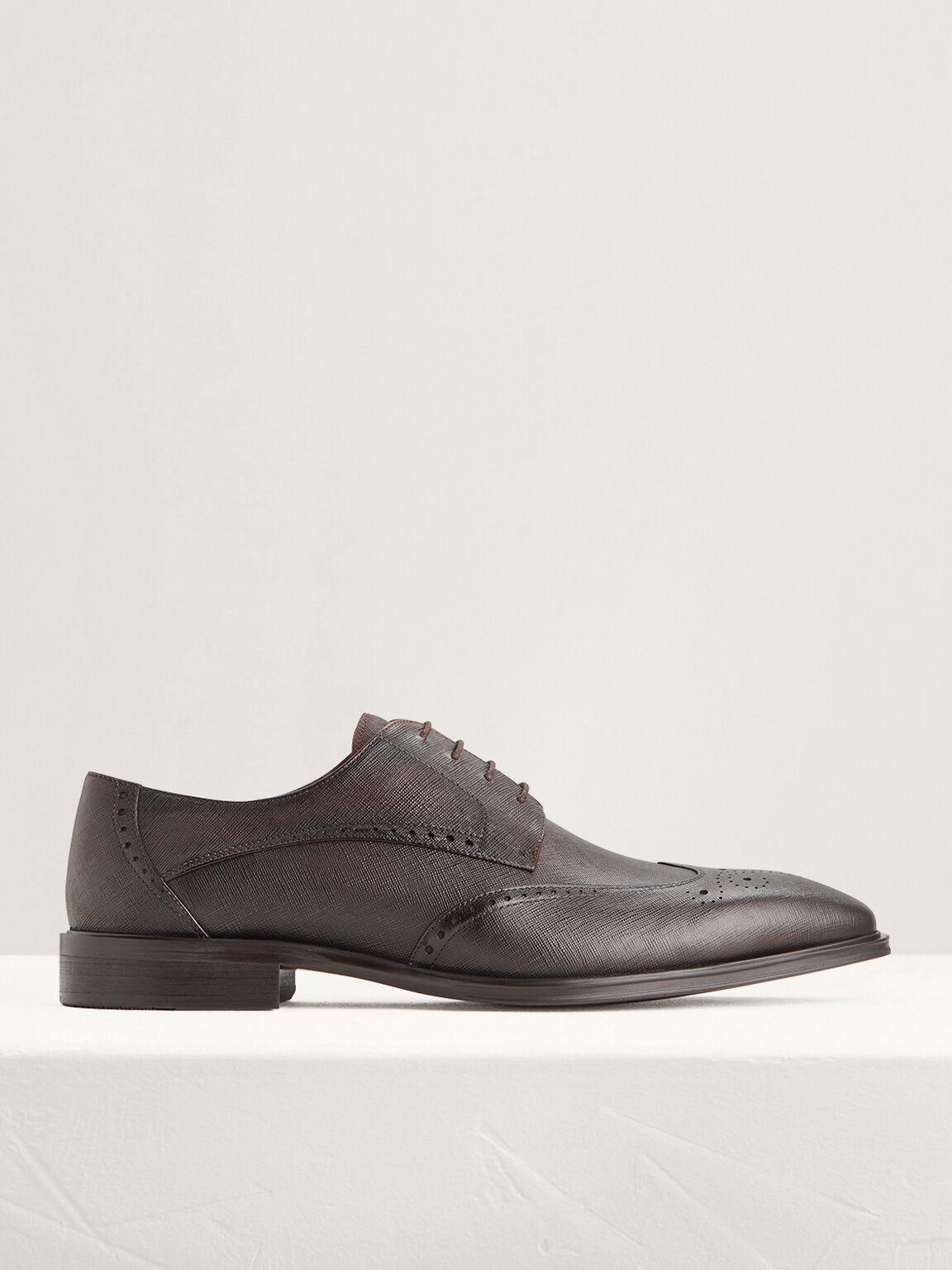 Brogue Leather Derby Shoes, Dark Brown, hi-res