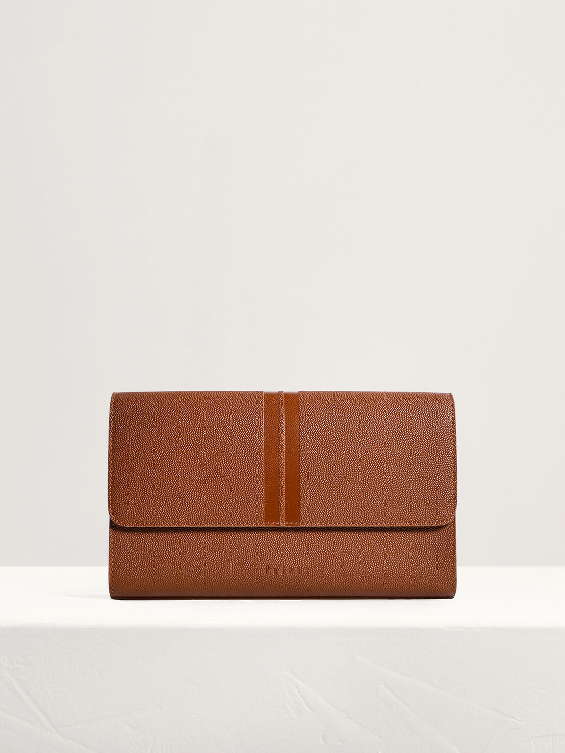 Striped Leather Clutch, Cognac, hi-res